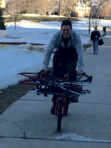 Need to transport large objects around campus? Contact us about using our cargo bike, built this winter by students