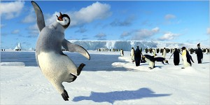 Mumble dancing unabashedly. Note his grey coat-- he's different than the other Emperor penguins. http://www.nytimes.com/2006/12/28/movies/28happ.html