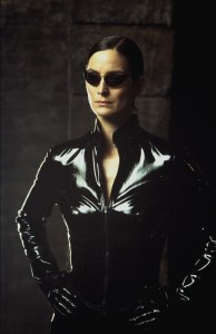 """CARRIE-ANNE MOSS stars in Warner Bros. PicturesÕ and Village Roadshow PicturesÕ provocative futuristic action thriller """"The Matrix Reloaded,"""" also starring Keanu Reeves and Laurence Fishburne and distributed by Warner Bros. Pictures. ©2003 WARNER BROS. - U.S., CANADA, BAHAMAS & BERMUDA. ©2003 VILLAGE ROADSHOW FILMS (BVI) LTD - ALL OTHER TERRITORIES (ALL RIGHTS RESERVED USED BY PERMISSION). PHOTOGRAPHS TO BE USED SOLELY FOR ADVERTISING, PROMOTION, PUBLICITY OR REVIEWS OF THIS SPECIFIC MOTION PICTURE AND TO REMAIN THE PROPERTY OF THE STUDIO. NOT FOR SALE OR REDISTRIBUTION"""