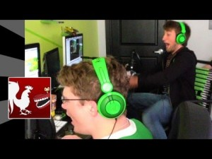 Achievement Hunter's Michael (left) and Gavin (right) during the making of a lets play