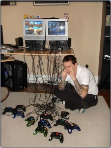 Rooster Teeth's setup to make an episode of RVB. Each controller is a different camera/actor. This is from 2004