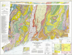 Figure 2. Conglomerate nature of the bedrock in Connecticut. New England's conglomerate nature is due to continental collisions and breakup over millions of years (source: Rogers, 1985).
