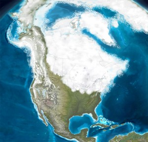 Figure 3. Limit of the Wisconsin Ice Sheet. Millions of years ago an ice sheet covered much of North America, stretching down to present-day Long Island. Its retreat created many of Connecticut's geological features (source: www.americanroads.us).