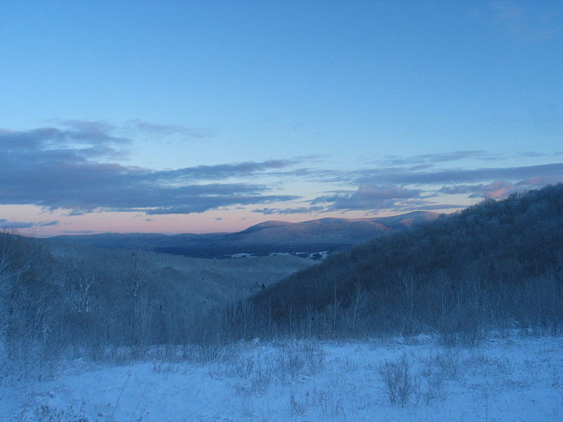 Berkshires in winter, seen from the NY border