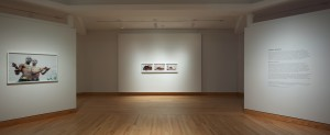 """Image of a photograph from the Beulahs series and """"Caitlin and I 2009"""" in Bloedel Gallery at WCMA, January 2014. Photo taken by Art Evans."""