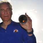 Jay Pasachoff during the partial phases of the 2012 annular solar eclipse.