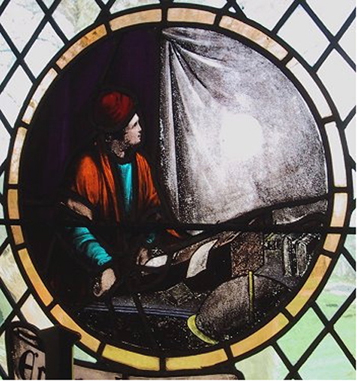 Stained glass window from the church at Much Hoole  showing Horrocks's original observations.