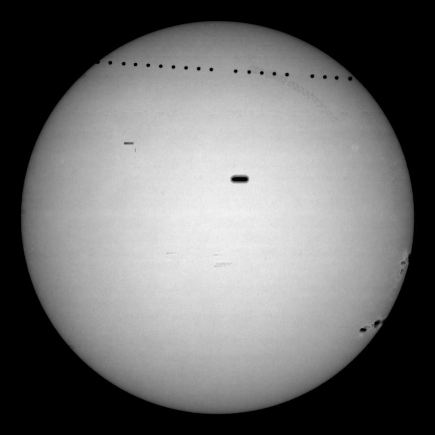 composite image from the Udaipur, India, GONG site, carefully co-registered so that the overall Sun stayed steady; the solar rotation blurred out the sunspots