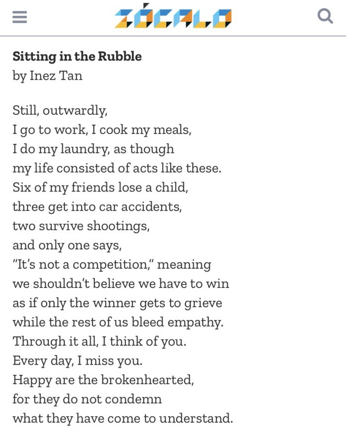 Sitting in the Rubble, a Poem by Inez Tan '12