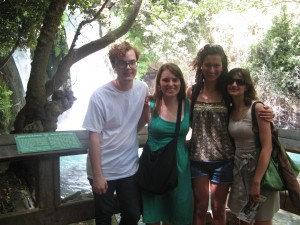 Four Williams students at Banias Falls, a site only a few kilometers north of the temple at Omrit. From left to right, Sam O'Donnell '15, Emily Loveridge '14, Lydia Heinrichs '15, and Elvira Miceli '13.