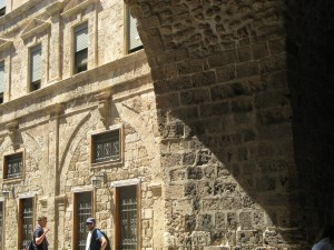 A medieval city gate in Akko. At bottom, Elliot Culp (Carthage College) and Connor Dempsey '13.