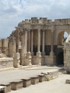 The theater front (scaenae frons) at Bet She'an.