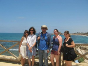 Most of the Williams crew in what survives of Herod the Great's waterfront palace at Caesarea, with the modern resort town in the background. The brilliant blue belongs not only to the sky, of course, but also to the Mediterranean, that fundamental nurturer of the civilizations on which sites like Omrit shed light. From left to right, Elvira, Lydia, Prof. Rubin, Sharona, and Emily.