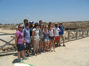 A candid shot of our digging companions from Carthage College in front of the Herodian hippodrome at Caesarea.