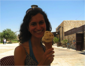 Lydia wearing a gelato-induced grin at the end of the team's tour of Caesarea. Espresso and dark chocolate, are those the flavors?