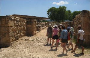 Team members entering the fortified upper city of Hazor through an Iron Age gate. The pavilion in the background protects a roughly contemporary administrative complex.