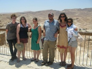 The majority of the Williams crew by the steps to the most spectacular part of Herod the Great's palace at Masada, the mountaintop that was also the final refuge of Jews revolting against their Roman conquerors in the first century. From left to right, Sam, Sharona, Emily, Prof. Rubin, Lydia, and Elvira.