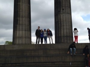 My friends and I posing on the monument just moments before my fall.